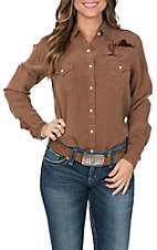 Panhandle Women's Rough Stock Cactus Embroidered Western Shirt