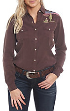 Panhandle Women's Rough Stock Tonal Desert Embroidered Western Shirt