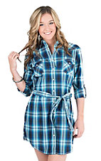 Panhandle Women's Navy Plaid Long Sleeve Western Snap Dress