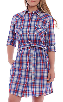 Panhandle Roughstock Women's Red & Blue Plaid Pearl Snap Dress