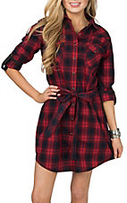 Panhandle Rough Stock Women's Red & Navy Plaid Western Snap Shirt Dress