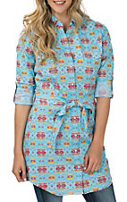 Panhandle Women's Blue Aztec Print Button Down Tunic Fashion Top