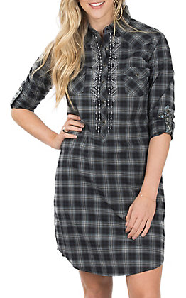 Panhandle Rough Stock Women's Black Plaid Western Snap Shirt Dress