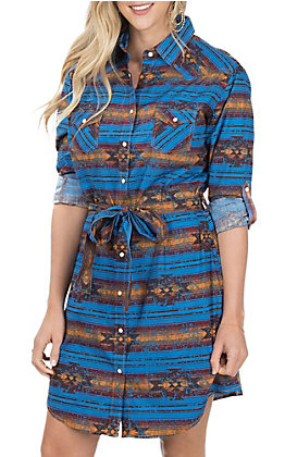 Panhandle Women's Blue Aztec Print Button Down Dress