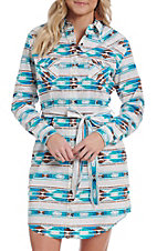 Panhandle Women's Turquoise Aztec Print Button Down Dress
