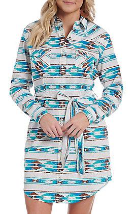 Panhandle Women's Turquoise Aztec Print Button Down Dress