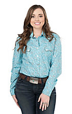 Panhandle Women's Turquoise Bandana Print Long Sleeve Western Snap Shirt