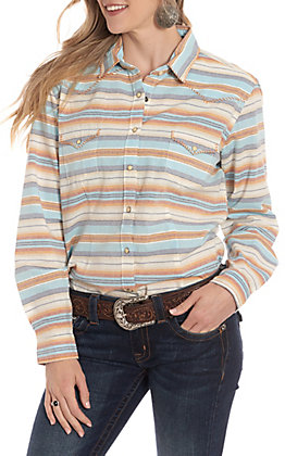a1747f4e89d5 Panhandle Women's Multi Color Horizontal Striped Long Sleeve Western Shirt