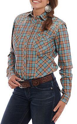 Panhandle Roughstock Women's Turquoise & Brown Plaid Long Sleeve Western Shirt
