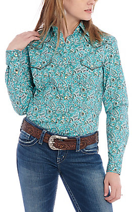 Panhandle Women's Teal & Brown Paisley Print Long Sleeve Western Shirt