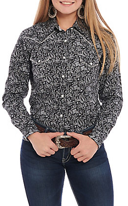 Panhandle Roughstock Women's Black & Grey Paisley Long Sleeve Western Shirt