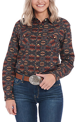 Roughstock by Panhandle Women's Aztec Print Long Sleeve Western Shirt
