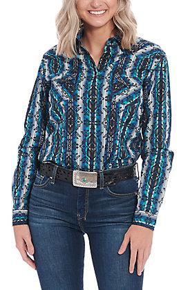 Roughstock by Panhandle Women's Blue Aztec Long Sleeve Western Shirt