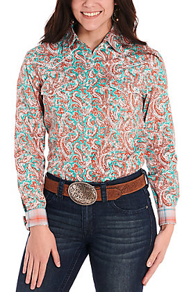 Rough Stock by Panhandle Women's Turquoise with Orange Paisley Print Long Sleeve Western Shirt