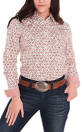 Rough Stock by Panhandle Women's White with Rust Print Long Sleeve Western Shirt
