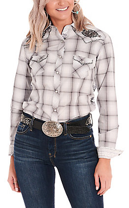 Rough Stock by Panhandle Women's Grey Plaid and Aztec Long Sleeve Western Shirt