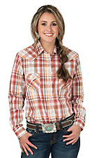 Rough Stock by Panhandle Women's Rust, Orange, Brown & White Plaid Long Sleeve Western Shirt