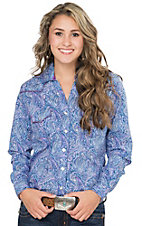 Rough Stock by Panhandle Women's Purple & Blue Paisley Print Long Sleeve Western Shirt