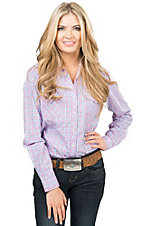 Rough Stock by Panhandle Women's White, Pink and Blue Plaid Long Sleeve Western Shirt