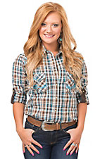 Rough Stock by Panhandle Women's Turquoise & Brown Plaid Long Sleeve Western Shirt