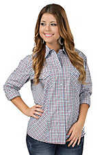 Rough Stock by Panhandle Women's White, Blue, Red and Brown Mini Plaid Long Sleeve Western Shirt