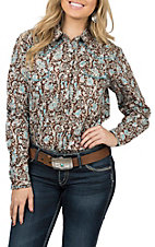 Panhandle Rough Stock Women's Brown Paisley Long Sleeves Western Snap Shirt