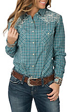 Panhandle Rough Stock Women's Turquoise Plaid Embroidered L/S Western Snap Shirt