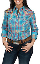 Panhandle Rough Stock Women's Multi-Color Plaid & Aztec Embroidery L/S Western Snap Shirt