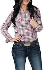 Panhandle Rough Stock Women's Orange and Blue Plaid L/S Western Snap Shirt