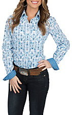 Panhandle Rough Stock Women's Blue and White L/S Western Snap Shirt