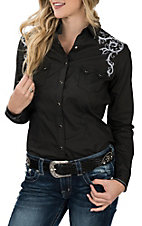 Panhandle Rough Stock Women's Black w/ White Embroidery L/S Western Snap Shirt