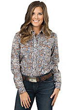 Panhandle Rough Stock Women's Blue Paisley Long Sleeve Western Shirt