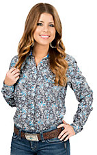 Panhandle Rough Stock Grey with Turquoise Paisley Long Sleeve Western Shirt