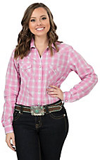 Panhandle Rough Stock Women's Pink & Grey Plaid Long Sleeve Western Shirt