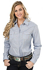 Panhandle Rough Stock Women's Light Blue with Diamond Print Long Sleeve Western Shirt