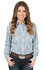 Panhandle Rough Stock Women's White Paisley Print Long Sleeve Western Shirt