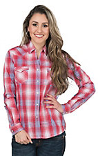 Panhandle Rough Stock Red & Blue Plaid Long Sleeve Western Shirt