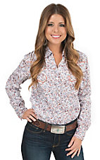 Panhandle Rough Stock Orange & Blue Paisley Print Long Sleeve Western Shirt