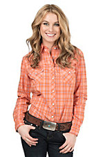 Panhandle Women's Orange and Blue Plaid Western Shirt