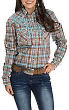 Rough Stock by Panhandle Women's Turquoise and Brown Plaid with Embroidery Long Sleeve Western Shirt