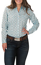 Rough Stock by Panhandle Women's Turquoise and Brown Print Long Sleeve Western Shirt
