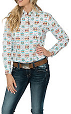 Panhandle Women's White Aztec Print L/S Western Snap Shirt