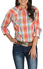 Rough Stock by Panhandle Women's Orange and Turquoise Plaid Long Sleeve Western Shirt