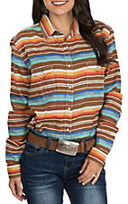 Rough Stock by Panhandle Women's Orange, Turquoise and Brown Aztec Serape Print Long Sleeve Western Shirt