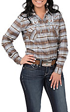 Rough Stock Women's Brown and Blue Plaid with Embroidered Shoulders Long Sleeve Western Shirt