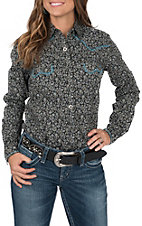 Rough Stock Women's Black with Grey Paisley Print and Turquoise Whipstitch Long Sleeve Western Shirt