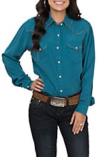 Rough Stock by Panhandle Women's Teal with Tan Whipstich Long Sleeve Western Shirt
