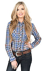 Panhandle Women's Blue, Orange, and White Plaid Long Sleeve Western Snap Shirt