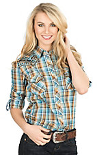 Panhandle Women's Turquoise and Brown Plaid with Aztec Front Yoke Embroidery Long Sleeve Western Snap Shirt