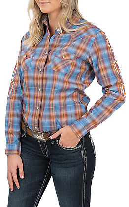 Rough Stock by Panhandle Women's Plaid Aztec Print Embroidered Sleeves Western Snap Shirt